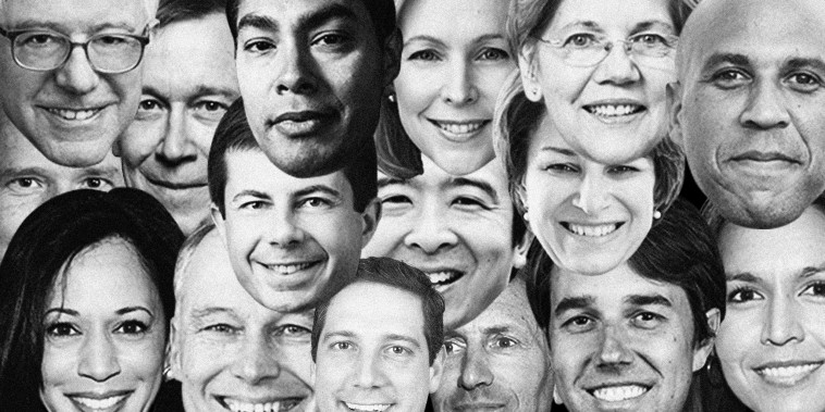 Photo illustration of presidential candidates faces.