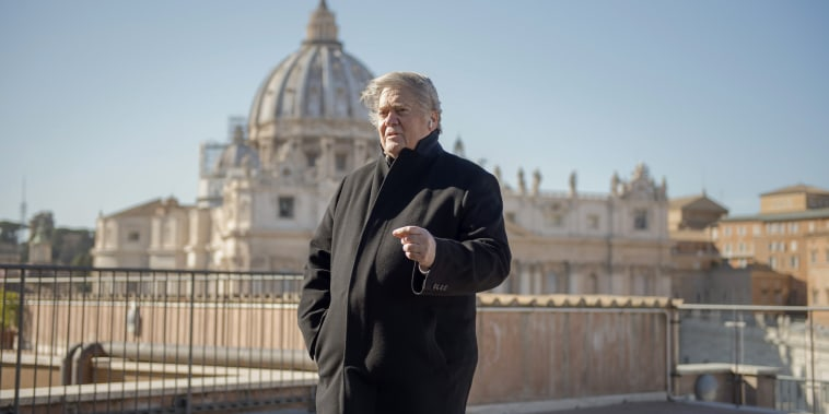 Image: Former White House strategist Steve Bannon poses for a portrait on a terrace overlooking St. Peter's Square at the Vatican on Feb. 23, 2019.