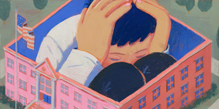 Illustration of giant child crouching inside a school building.