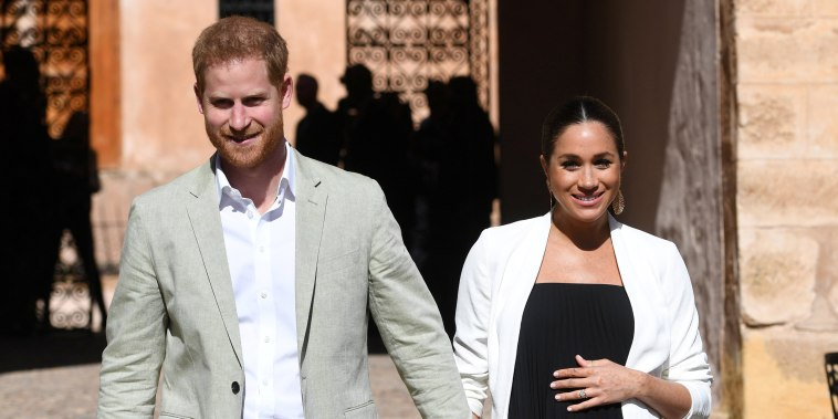 Image: Meghan, Duchess of Sussex, and Prince Harry visit the Andalusian Gardens in Rabat, Morocco, on Feb. 25, 2019.
