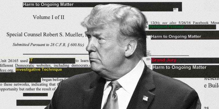 Photo illustration of Donald Trump and Mueller report.