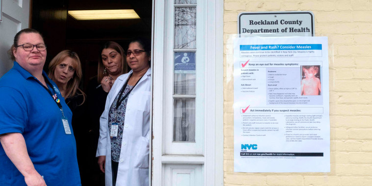 Image: Nurses wait for patients at the Rockland County Health Department in Haverstraw, New York, on April 6, 2019.