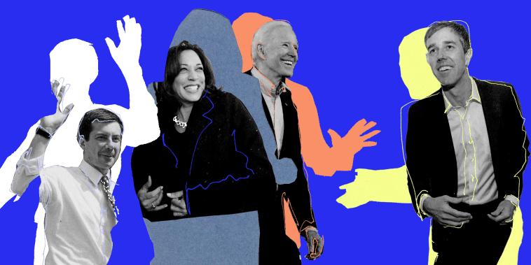 Photo illustration of Pete Buttigieg, Kamala Harris, Joe Biden, and Beto O'Rourke.