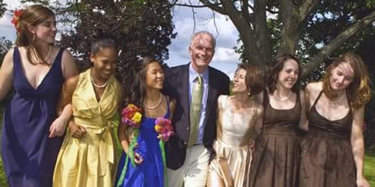 Amy Dickinson with her family on her wedding day