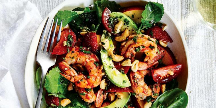 Image: A grilled shrimp summer harvest salad.