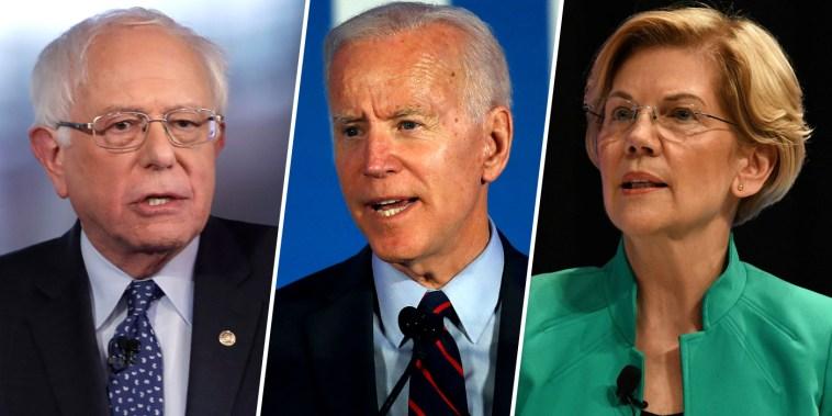 Image: Bernie Sanders Joe Biden Elizabeth Warren