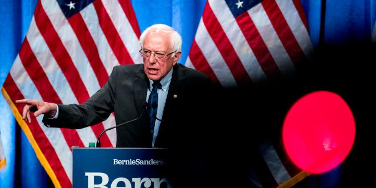 Image: Sen. Bernie Sanders, I-VT, speaks at George Washington University on June 12, 2019.