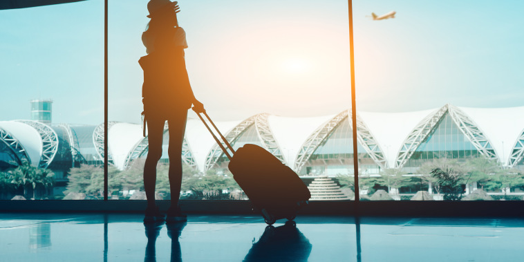 Image: Silhouette Woman With Luggage Standing In Airport