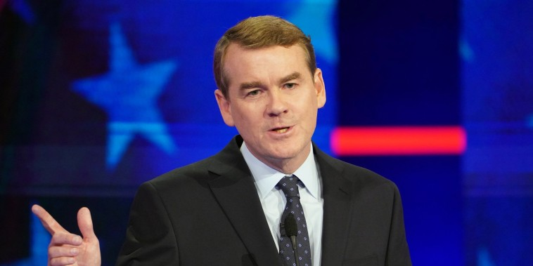 Image: Sen. Michael Bennet (D-Colo.) speaks during the Democratic presidential debate in Miami on Thursday night, June 27, 2019.