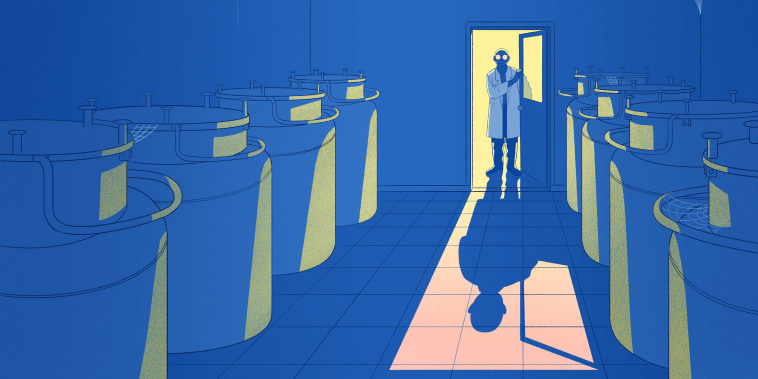 Illustration of fertility clinic tech opening door to room full of egg freezing tanks.
