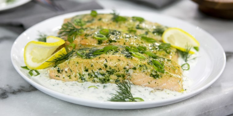 Melissa Clark's Salmon with Lots of Herbs & Yogurt Sauce + Salmon Frittata + Salmon Fried Rice