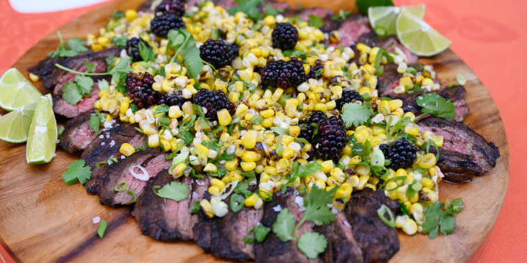 Bobby Flay's Spiced Rubbed Skirt Steak with Charred Jalapeno Pesto + Michael Symon's Skirt Steak with Corn and Blackberry Salad