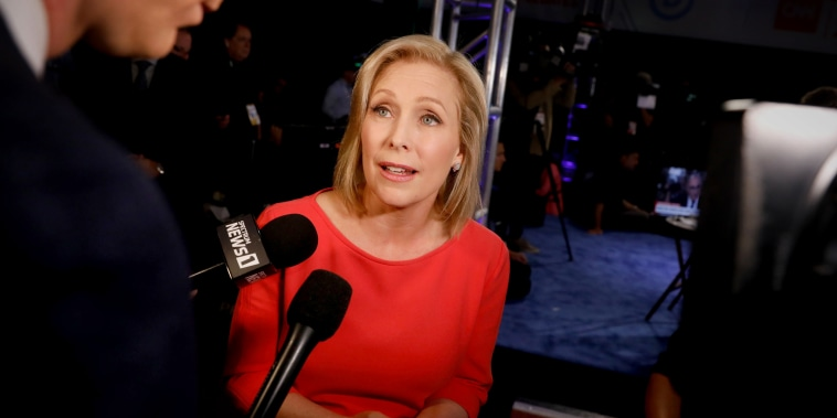 Image: Sen. Kirsten Gillibrand, D-NY, speaks to the press after a Democratic presidential primary debate in Detroit on July 31, 2019.