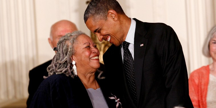 Image: Toni Morrison smiles with President Barack Obama during a Medal of Freedom ceremony at the White House in 2012.