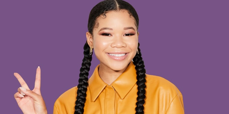 """In this Wednesday, Aug. 7, 2019 photo, Storm Reid poses for a portrait in New York to promote the film \""""Don't Let Go.\"""" (Photo by Matt Licari/Invision/AP)"""
