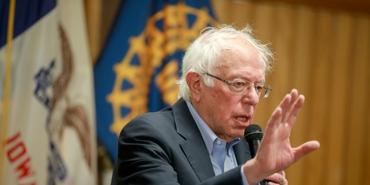 Senator Bernie Sanders, who is running for the Democratic nomination for President of the United States, speaks to union retirees and UFCW members at the UAW Local 74 in Ottumwa on July 21, 2019.