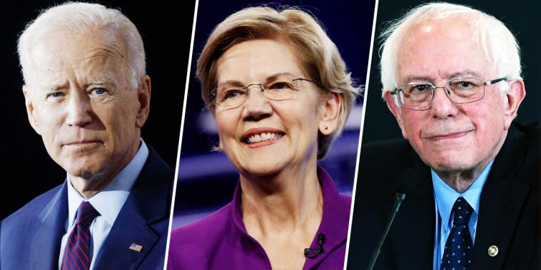 Joe Biden, Elizabeth Warren, Bernie Sanders.