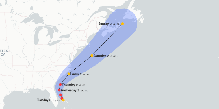 A map of Hurricane Dorian's projected path