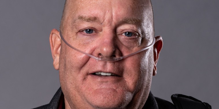 Shows Tom Frey, a retired NYPD detective who became sick after helping in the 9/11 clean-up efforts.