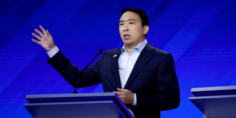 Image: Andrew Yang speaks at the Democratic presidential debate in Houston, Texas, on Sept. 12, 2019.