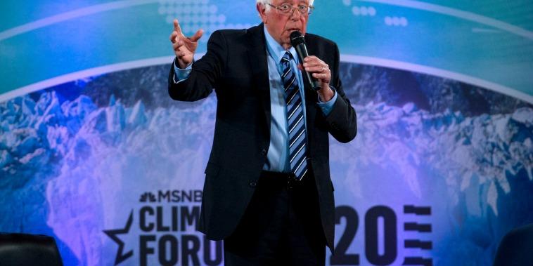 Image: Sen. Bernie Sanders, I-Vt., speaks at the Climate Forum at Georgetown University on Sept. 19, 2019.