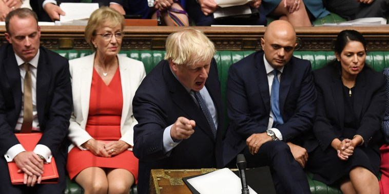 Image: Britain's Prime Minister Boris Johnson gesturing while answering questions on the proroguing of Parliament, in the House of Commons in London on Sept. 25, 2019