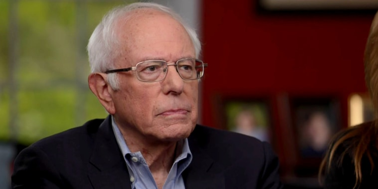 """Image: Sen. Bernie Sanders speaks in his first interview following a heart attack on """"Nightly News."""""""