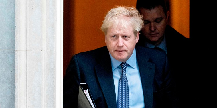 Image: British Prime Minister Boris Johnson leaves Downing Street in London on Oct. 19, 2019.