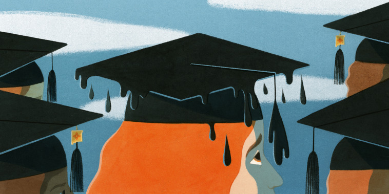 Illustration of oil dripping off a graduation cap.