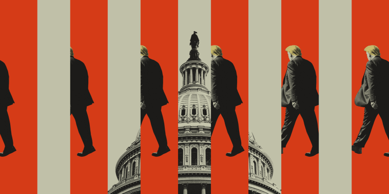 Photo illustration of Donald Trump walking from one side of the frame to the other, with the Capitol building interspersed between him.
