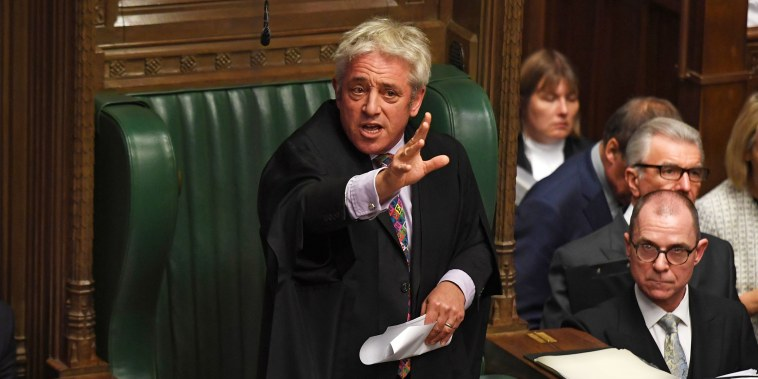 Image: Parliament Speaker John Bercow addresses the House of Commons on Oct. 21.