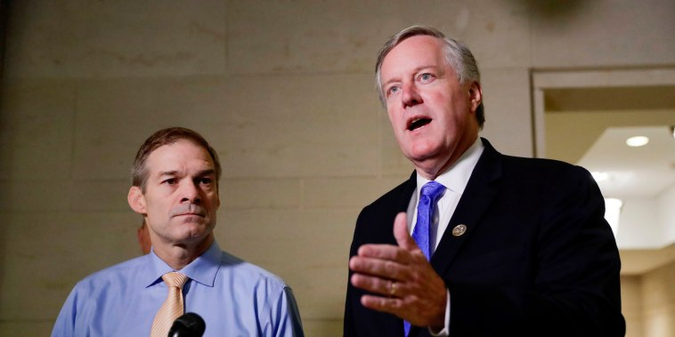 Image: Rep. Jim Jordan, R-Ohio, and Rep. Mark Meadows, R-N.C., speak to the media at the Capitol on Oct. 31, 2019.