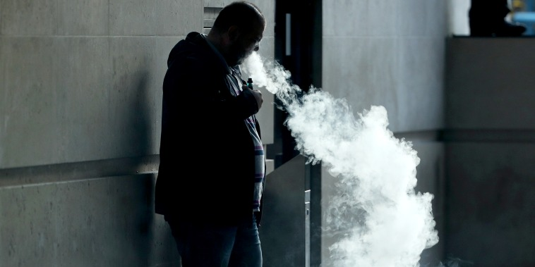 The vapor cloud produced by a man with an e-cigarette in London on Sept. 19, 2019.