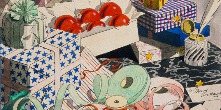 Image: A holiday gift wrapping illustration produced by Vogue in 1926.
