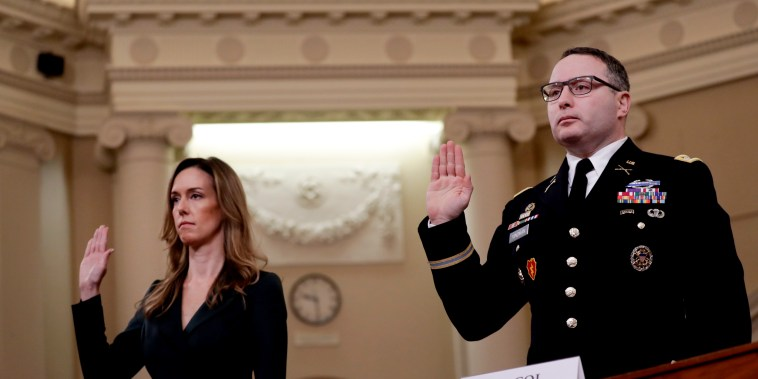 Image: Jennifer Williams, aide to Vice President Mike Pence, and Lt. Col. Alexander Vindman are sworn-in for testimony at an impeachment inquiry hearing on Nov. 19, 2019.