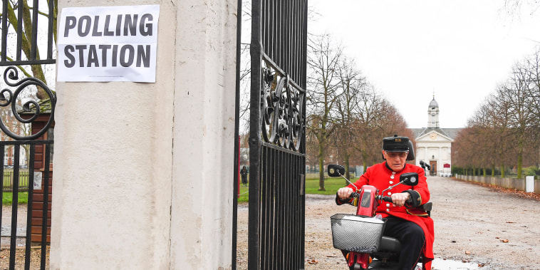 Image: A Chelsea Pensioner leaves the polling station in Chelsea after voting in the General Election, in London