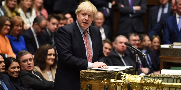 Image: Britain's Prime Minister Boris Johnson speaking at the dispatch box in the House of Commons in London, during the first sitting of Parliament since the general election