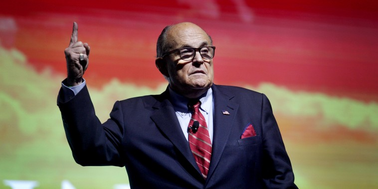 Image: Rudy Giuliani speaks to the crowd at the Turning Point USA Student Action Summit in Florida on Dec. 19, 2019.