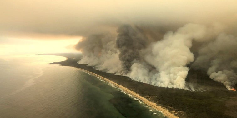 Image: Thick plumes of smoke rise from bushfires at the coast of East Gippsland, Victoria
