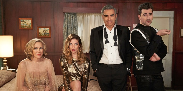 "Moira played by Catherine O'Hara, Alexis played by Annie Murphy, Johnny played by Eugene Levy, and David played by Dan Levy in the final season of ""Schitt's Creek."""