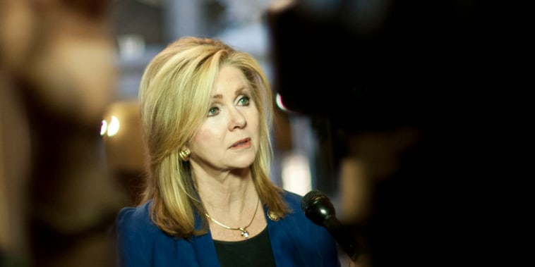 Rep. Marsha Blackburn (R-Tenn.) speaks to reporters on the fifth day of the government shutdown.
