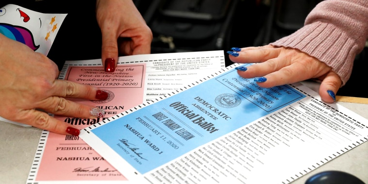 Image: Ballots for the New Hampshire primary are seen in Nashua, New Hampshire