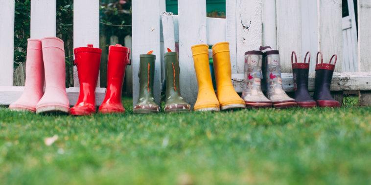 Row of rain boots