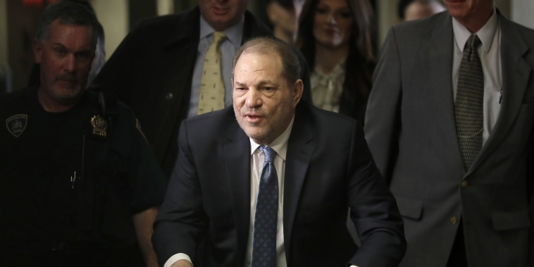 Image: Harvey Weinstein arrives at a Manhattan courthouse for jury deliberations in his rape trial, Monday, Feb. 24, 2020