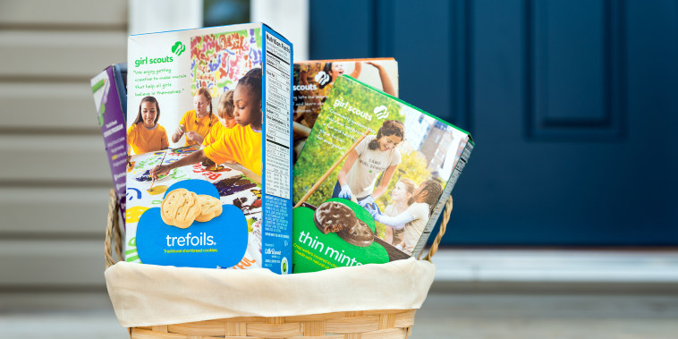 ATLANTA - MARCH 9, 2014: Assortment of packaged Girl Scout cookies in basket delivered on front porch. ; Shutterstock ID 181102415; Purchase Order: -; Segment/Job: -; Client/Licensee: -