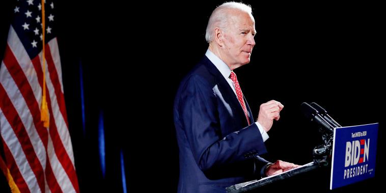 Image: Democratic U.S. presidential candidate Joe Biden speaks about coronavirus pandemic at event in Wilmington