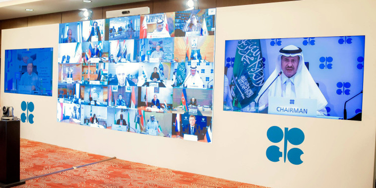 Image: Saudi Energy Minister Prince Abdulaziz bin Salman al-Saud chairs the virtual extraordinary meeting of Organisation of the Petroleum Exporting Countries (OPEC)