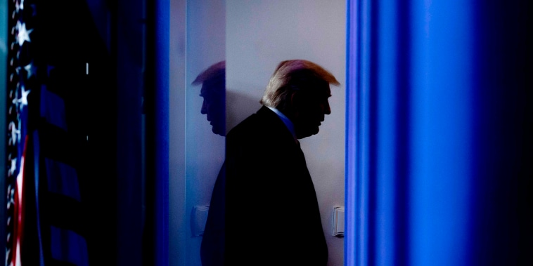 Image: President Donald Trump leaves the briefing room at the White House on April 17, 2020.
