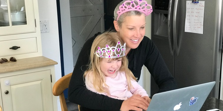 Kristen Dahlgren works from home during the coronavirus pandemic with her 4-year-old daughter. The NBC News correspondent recently completed treatment for breast cancer.