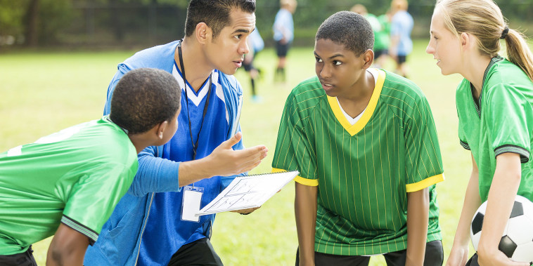 Soccer coach talks about play during time out